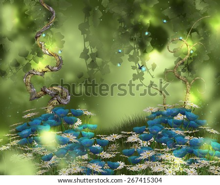 A pretty background with flowers and grass for a fairy or elf! - stock photo