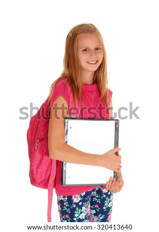 A pretty blond girl with her pink backpack on her back and a folderin her hands is ready for school, isolated for white background. - stock photo