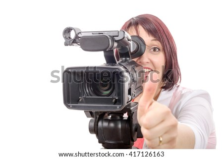 a pretty camerawoman with a professional camera, on white