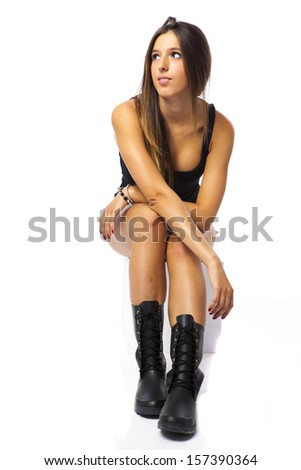 A pretty female looking up - stock photo