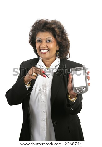 A pretty Indian businesswoman with a message for you on her PDA.  Screen left blank for your message.  Isolated on White.