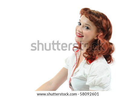 A pretty pin up girl with a big smile. - stock photo