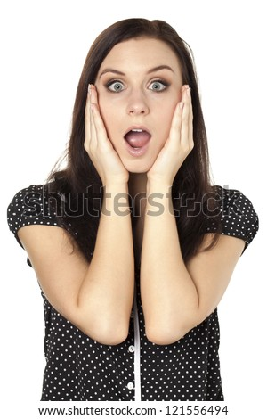 A pretty woman on a shocked gesture - stock photo