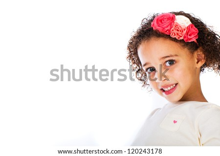 A pretty young African American girl. - stock photo
