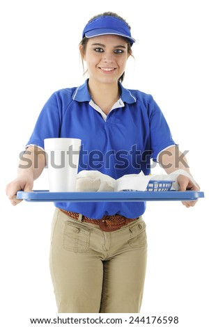 A pretty young fast food server bringing an order to the viewer.  On a white background. - stock photo