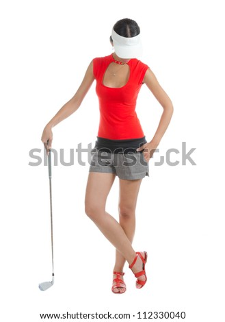 A pretty young woman golfer with different facial expressions.  Isolated on white. - stock photo