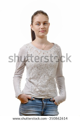a pretty young woman standing on white background