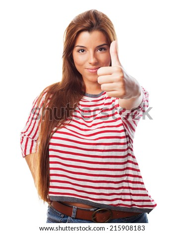 A pretty young woman with thumb up
