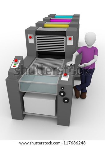 A printing press worker with his machine - stock photo