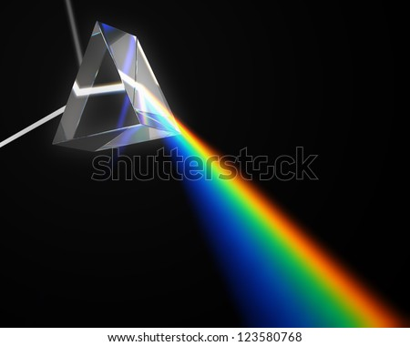 A prism dispersing white light - stock photo