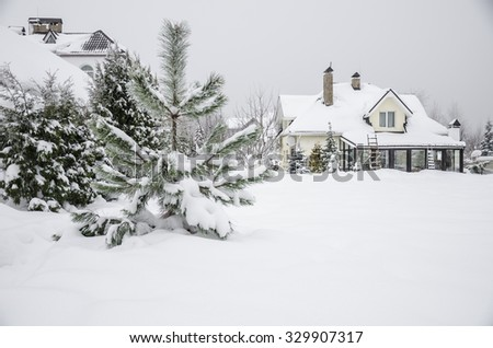 a private house under snow