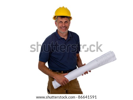 A professional construction contractor worker with hard hat is holding construction blue print plans, isolated on a white background. - stock photo