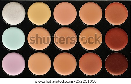 a professional make up palette - the concealers - stock photo