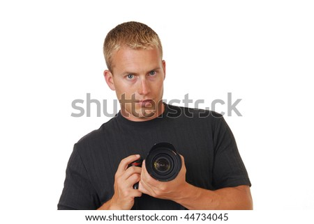 A professional male photographer - stock photo