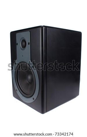 A professional speaker or monitor used in music studios,isolated on white studio background.