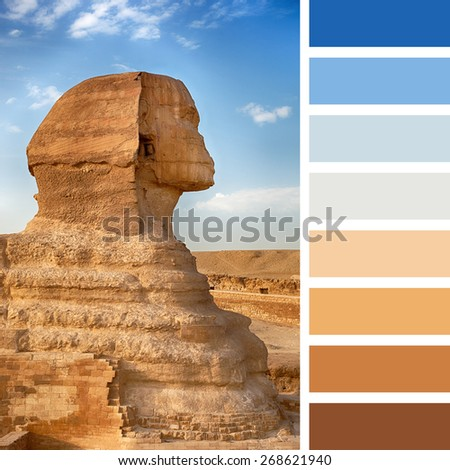 A profile view of the Sphinx, Giza, Egypt, in a colour palette with complimentary colour swatches. - stock photo