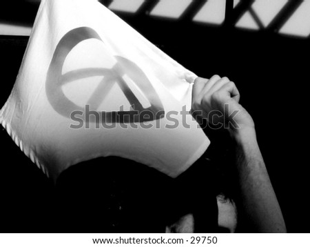 A protestor in Union Square (United for Peace and Justice Protest), NYC - stock photo
