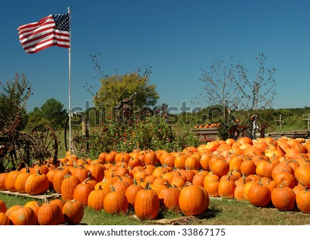 A pumpkin farm with a collection of harvested pumpkins, decorated with scarecrows, wagons and an American flag waving in the wind, vivid colors, horizontal with copy space - stock photo