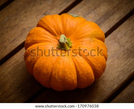A pumpkin on wooden background - stock photo