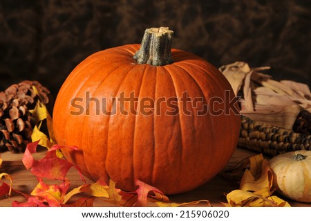 A pumpkin with autumn leaves and pine cones - stock photo