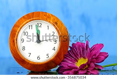 A purple flower with a small clock on blue wooden background, selective focus. - stock photo