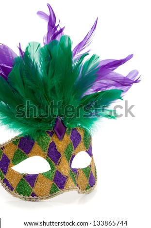 A purple, gold and green Mardi gras mask with feathers on a white background - stock photo