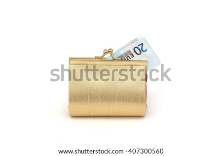 A purse with a twenty euro note - stock photo