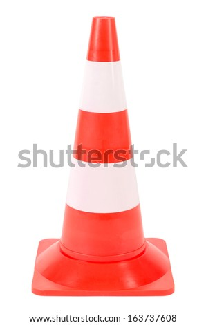 a pylon or warning cone isolated before white background - stock photo