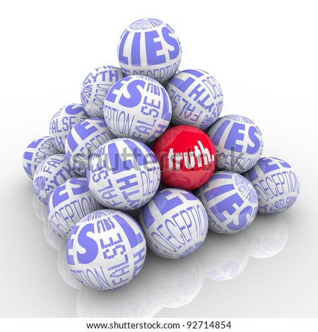 A pyramid of balls representing lies with one different ball hidden within it marked Truth.  Hard to find honest facts among lies, deceit, deception, fibs, misleading stories and fiction. - stock photo