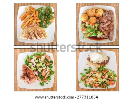 A quadtych of four plates of preapred food meals on wicker mats from above.  - stock photo