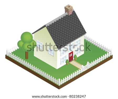 A quaint house with picket fence in isometric view - stock photo