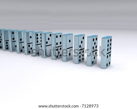 A queue of chrome dominoes - stock photo