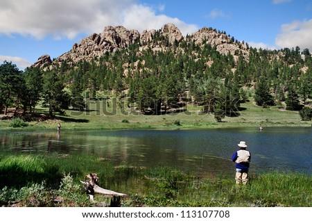 A Quiet Mountain Lake At Rocky Mountain National Park, Colorado - stock photo