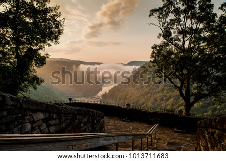 A quiet sunrise from Hawks Nest State Park, overlooking the New River gorge, in West Virginia.