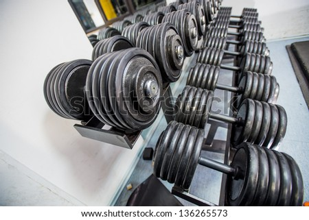 A rack of dumbbells weights