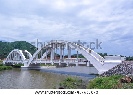 A railway bridge cross over the river in Lampoon province in the north of Thailand