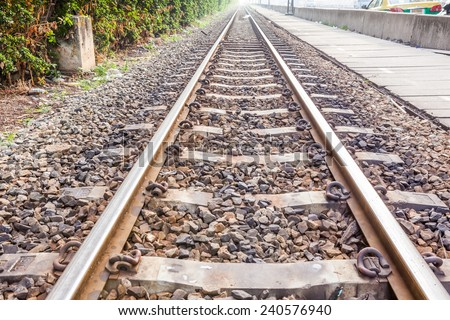 a railway whit an Vanishing point in the distance - stock photo