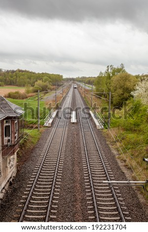 a railway with an Vanishing point in the distance - stock photo