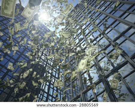 A rain of dollar bills falls from two glass-and-steel business towers (3D render) - stock photo