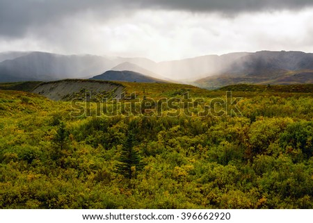 A rainstorm as seen from afar rolling over some mountains into a lush Alaskan landscape in the process of turning during Autumn. - stock photo