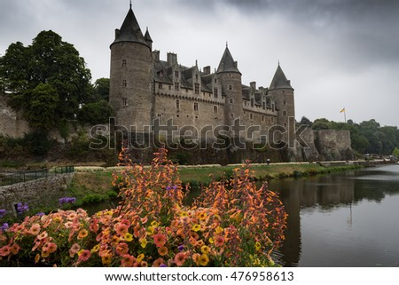 A rainy day at the medieval castle of Josselin on the River Oust, Brittany, France