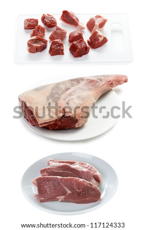 a raw leg of lamb, lamb steaks and diced lamb isolated