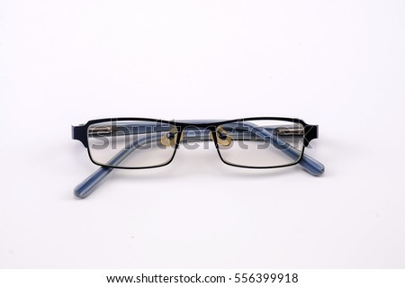 a reading glasses on white background