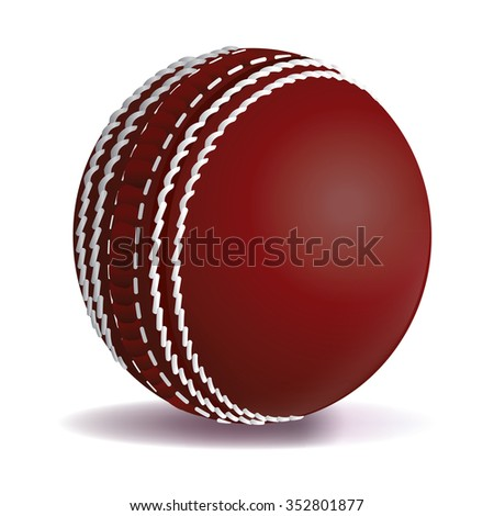 A realistic cricket ball illustration isolated on a white background.