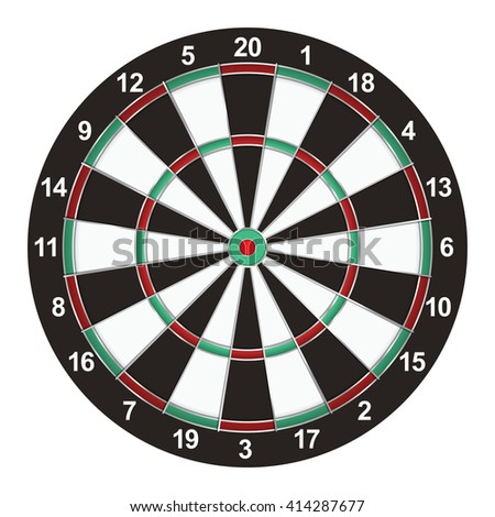 A realistic dart board isolated on a white background illustration.