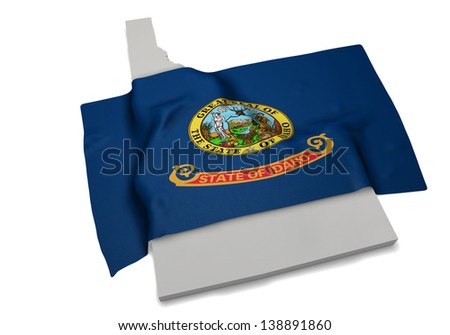 A realistic flag covering the shape of Idaho - stock photo