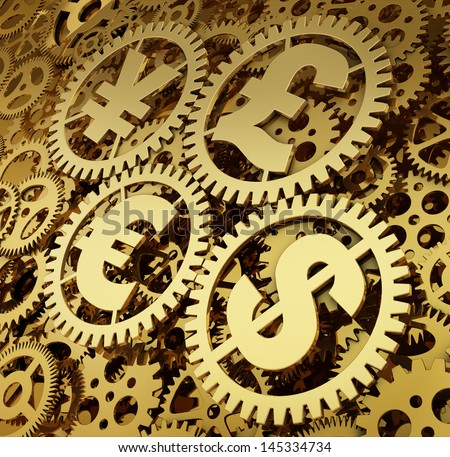 A realistic golden rendering of a clockwork with currencies as gears. Time is money (series) - stock photo