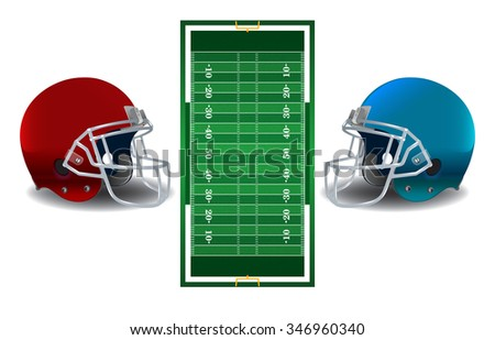 A realistic textured American football field and helmets isolated on a white background illustration. - stock photo