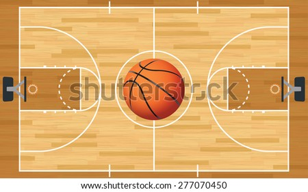 A realistic vector hardwood textured basketball court with basketball in the center court.