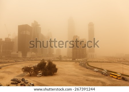 A recent sand storm covered Dubai can be seen here. - stock photo